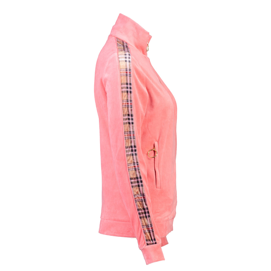 Velour Jogging Jacket (Dusty Rose/Tartan)