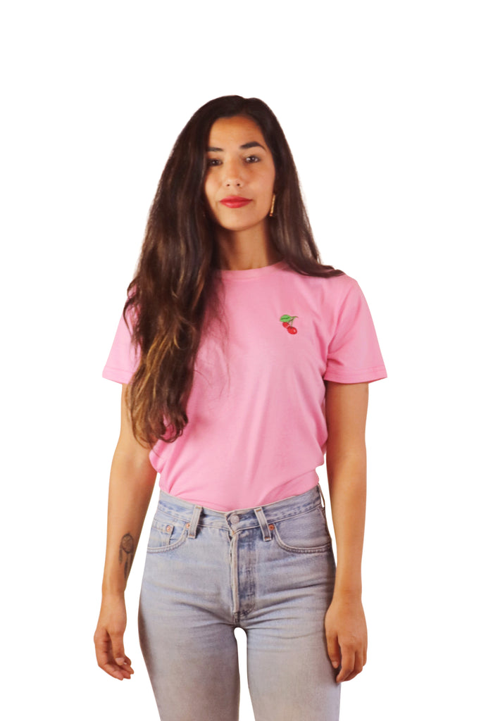Embroidered Cherries Tee (Bubblegum)