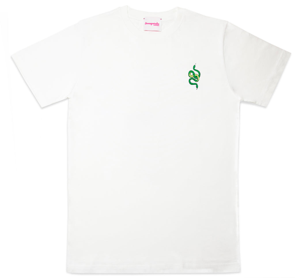 Embroidered Snakes Tee (White)