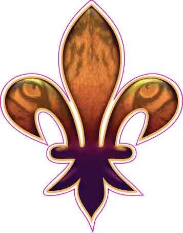 Tiger Eyes Fleur De Lis Decal