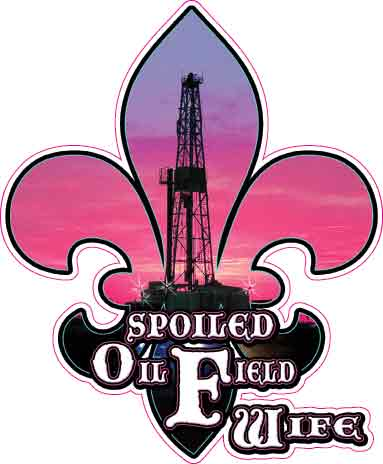 Spoiled Oilfield Wife Purple Fleur De Lis Decal