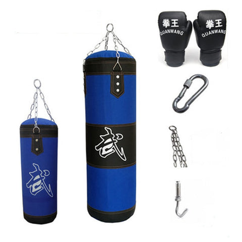 60/80cm/100cm/120cm Sandbag Thickened Canvas Punching Bag with Boxing Gloves