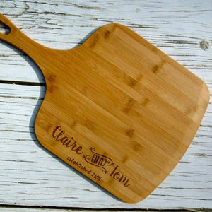 Personalized with names and Est. Date Bamboo Pizza Peel