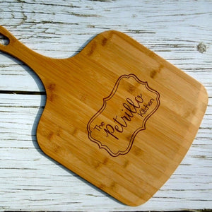 Personalized with Last Name Bamboo Pizza Peel