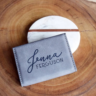 Elegant Cursive Name Business Card Holder