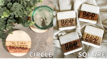 Load image into Gallery viewer, First Names and Last Name Marble/Wood Coaster Set