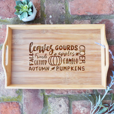 Fall Collage Bamboo Serving Tray