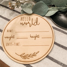 Load image into Gallery viewer, Laser Cut Hello World Baby Newborn Announcement Card