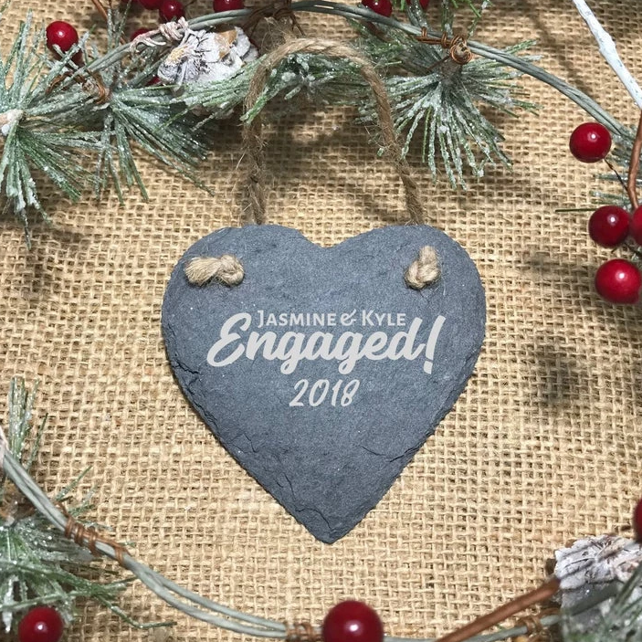 Slate Heart Engagement Ornament