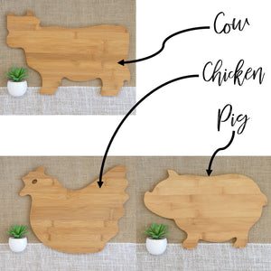 Last Name Family Animal Shaped Cutting Board