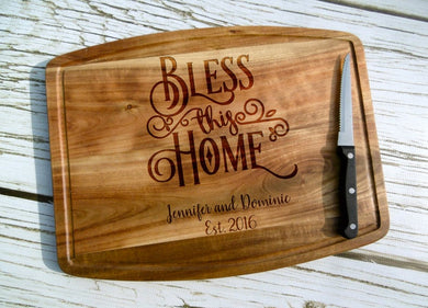 Bless this Home Acacia Cutting Board with Juice Grooves