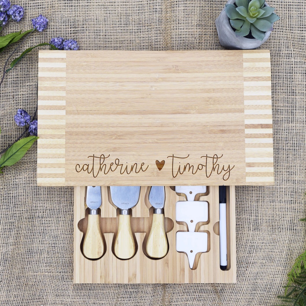 Copy of Script Names with Heart Cheese Board with Tools