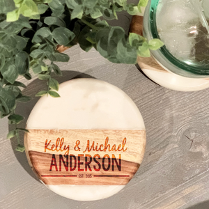 First Names and Last Name Marble/Wood Coaster Set