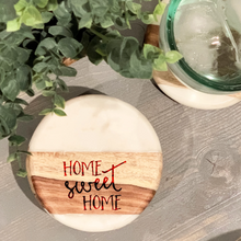 Load image into Gallery viewer, Home Sweet Home Marble/Wood Coaster Set