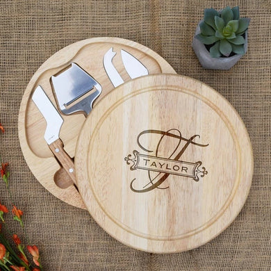 Elegant Monogram Banner with Family Name Circular Cheese Board