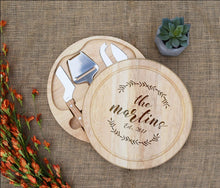 Load image into Gallery viewer, Family Name Wreath with Est. Date Circular Cheese Board