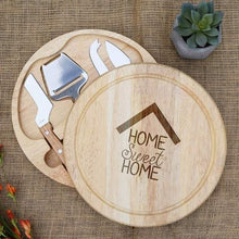Load image into Gallery viewer, Home Sweet Home House Silhouette Circular Cheese Board