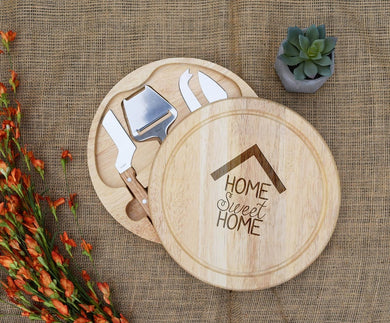 State Home Sweet Home with Names Circular Cheese Board