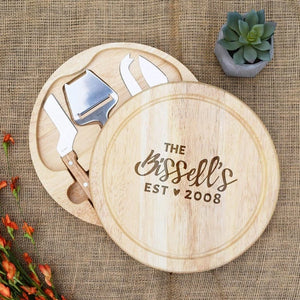 Cursive Family Name with Est. Date and Heart Circular Cheese Board