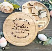 Load image into Gallery viewer, Cursive and Last Name Wreath with Est. Date Circular Cheese Board