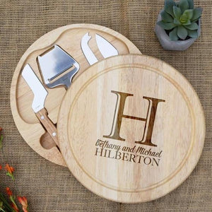 Large Initial First and Last Name Circular Cheese Board
