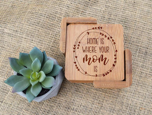 Home is Where Mom Is Wreath Bamboo Coaster Set