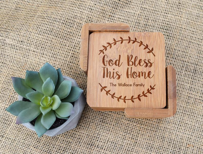 God Bless This Home Bamboo Coaster Set