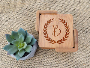 Initial In Wreath Bamboo Coaster Set