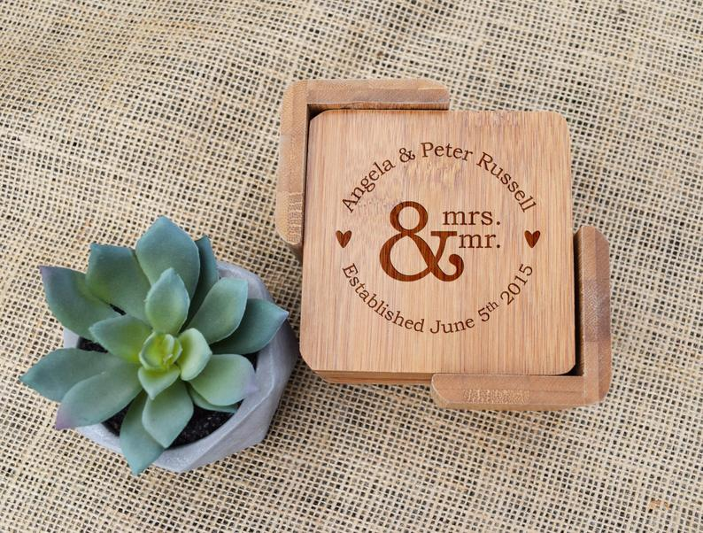 Mr And Mrs Wedding Date Bamboo Coaster Set