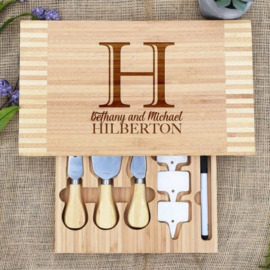 Last Name, Initial Cheese Board with Cheese Tools