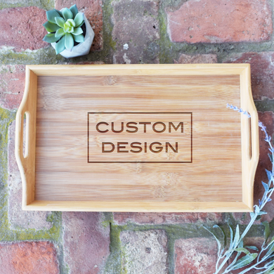 Logo or Custom Design Bamboo Serving Tray