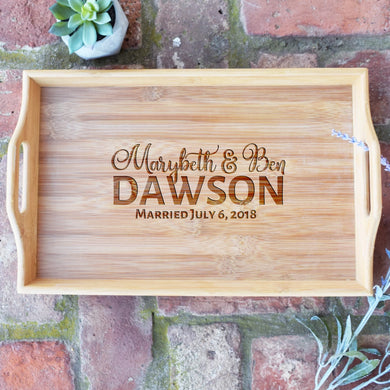 Personalized First and Last Name with Wedding Date Bamboo Serving Tray