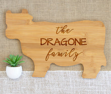 Load image into Gallery viewer, Simple Cursive and Block Family Name Animal Shaped Cutting Board