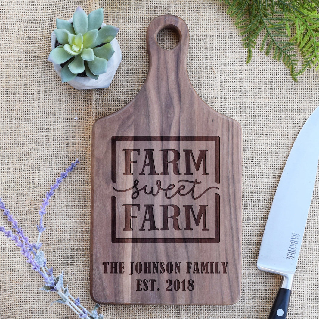 Farm Sweet Farm with Family Name and Est. Year Paddle Board