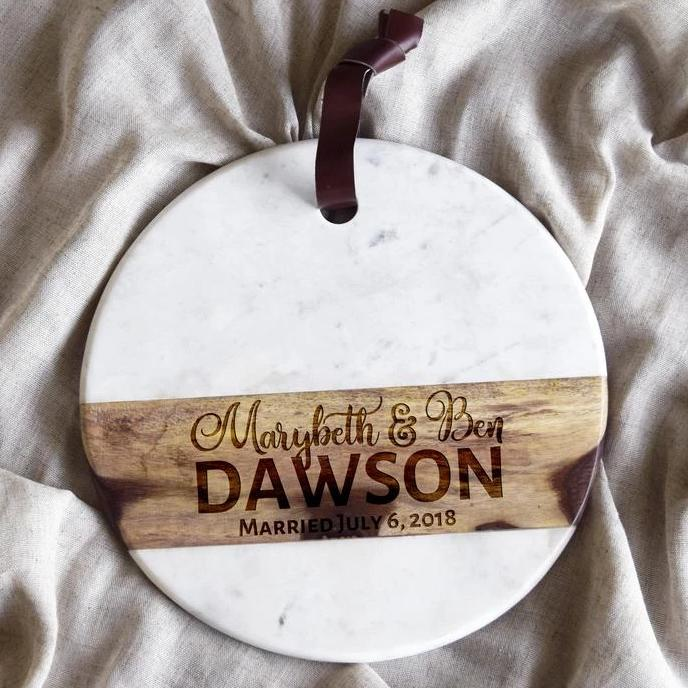 First Names with Last Name Est Circle Marble Cheeseboard