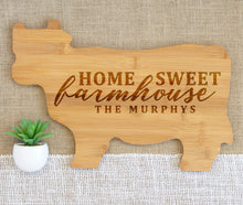 Load image into Gallery viewer, Home Sweet Farmhouse Family Name Animal Shaped Cutting Board