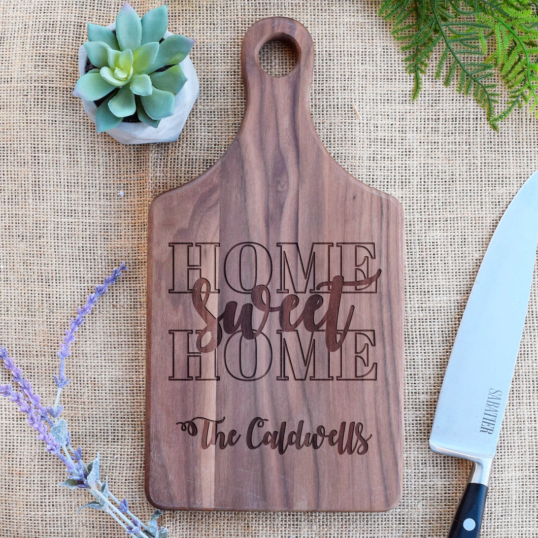 Home Sweet Home Block Letters and Family Name Paddle Board
