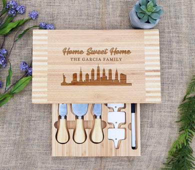 Home Sweet Home Skyline Cheese Board with Tools