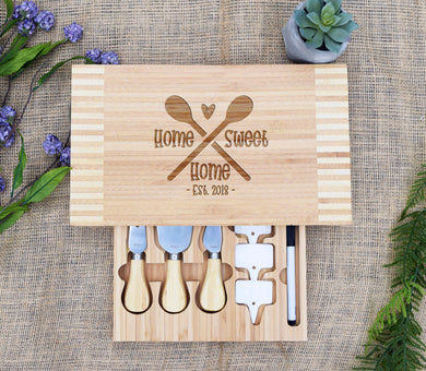 Home Sweet Home Spoons Cheese Board with Tools