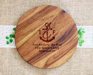 Last Name Lazy Susan with Anchor and Quote