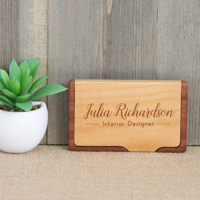 Wood Business Card Holder with Script Letter Name