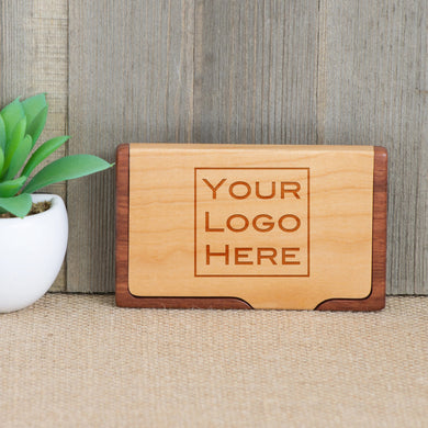 Logo or Custom Design Wood Business Card Holder