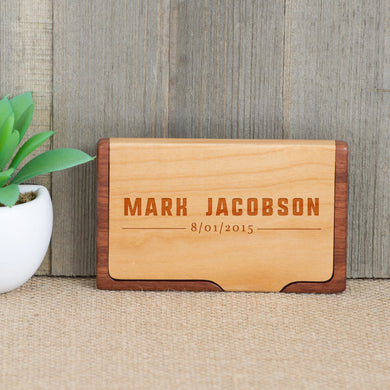 Wood Business Card Holder with Block Letter Name
