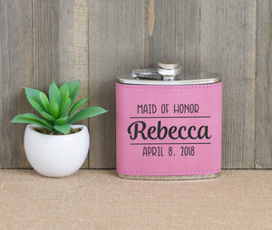 Maid of Honor with Name and Date Flask