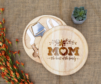 Mom Heart of Family Circular Cheese Board
