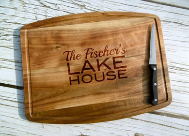 Lake House Personalized Acacia Cutting Board with Juice Grooves