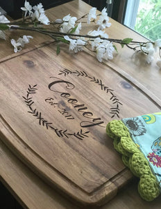 Last Name and Est. Date with Wreath  Acacia Cutting Board with Juice Grooves
