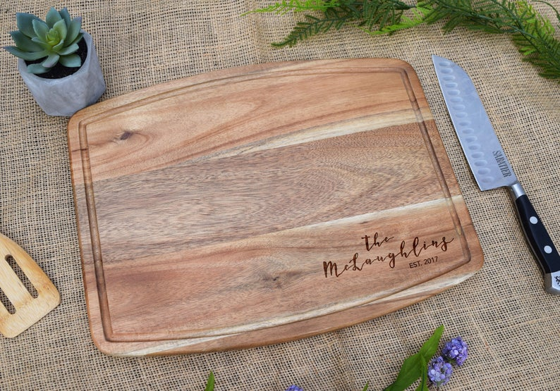 Last Name with Est. Date Acacia Cutting Board with Juice Grooves