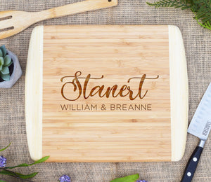 Last Name Script, First Names Two Tone Cutting Board