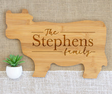 Load image into Gallery viewer, Linear Family Name Animal Shaped Cutting Board